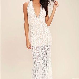 LuLus Better With You Ivory Lace Maxi Dress Medium